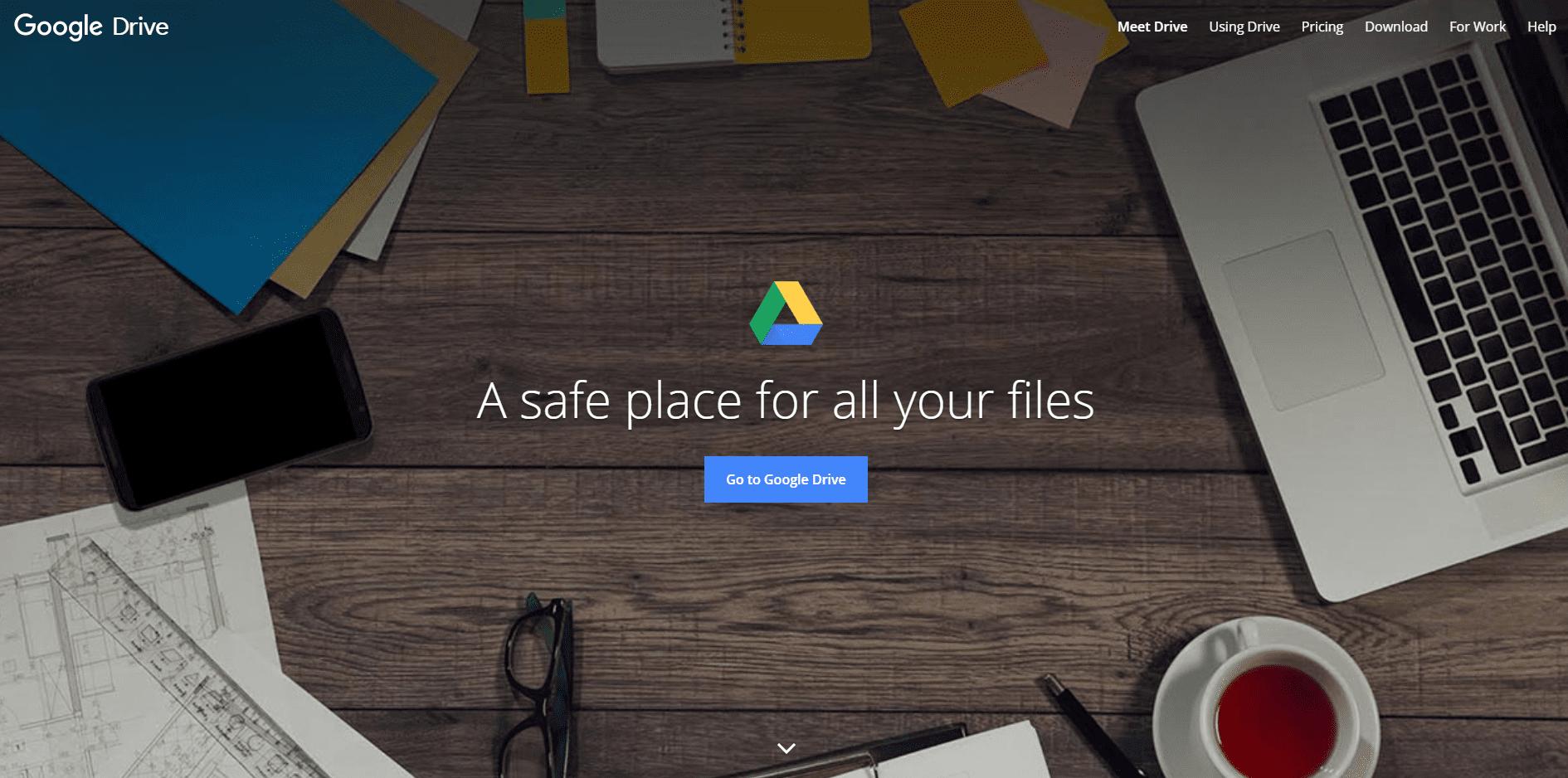 google drive landing page design
