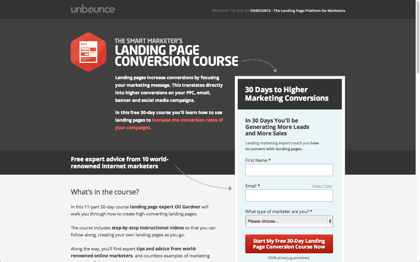 sample of great landing page