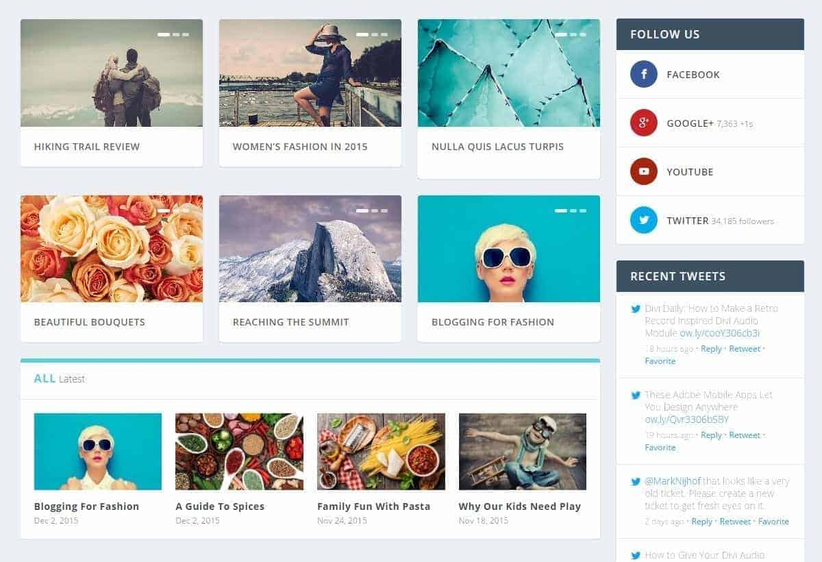 extra homepage layout