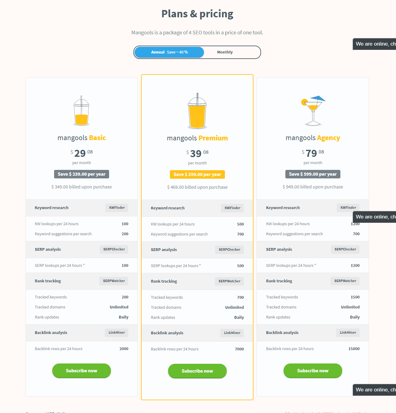 kwfinder pricing table