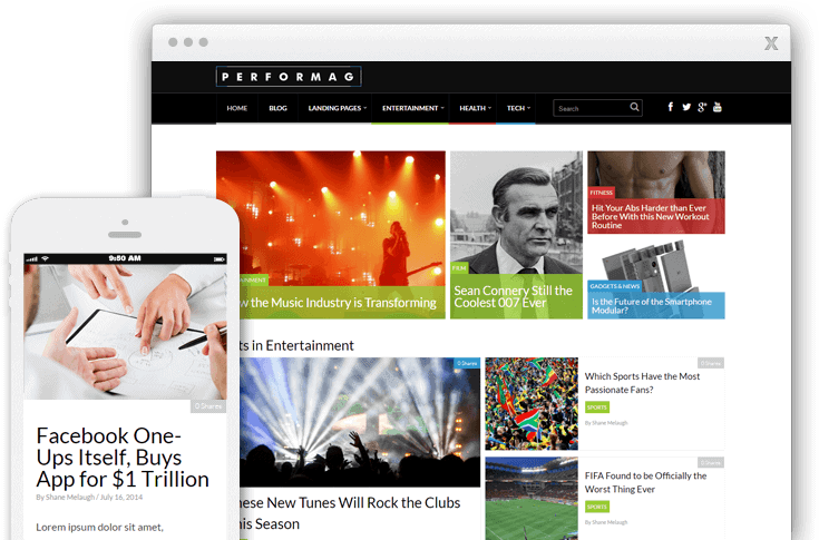 Performag offers a clean WordPress theme for magazine