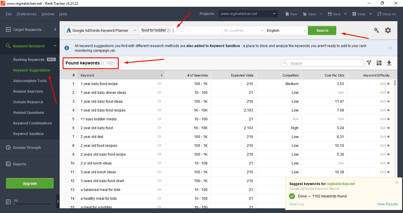 Fast Keyword Research With Rank Tracker