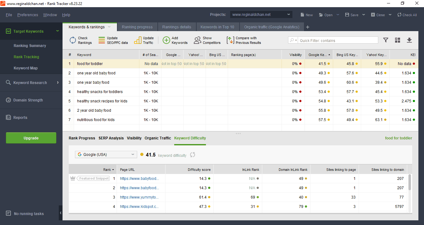 Rank Tracker Keyword Difficulty Feature