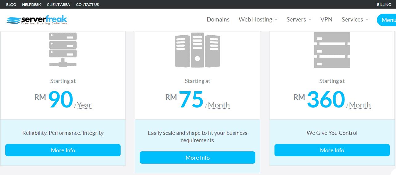 ServerFreaks Web Hosting Pricing Structure