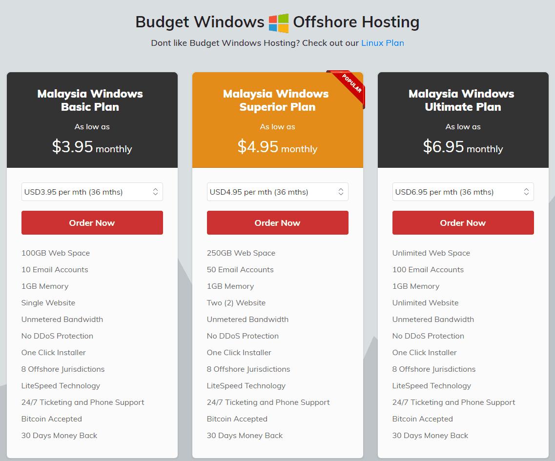 Shinjiru Windows Web Hosting Malaysia Pricing