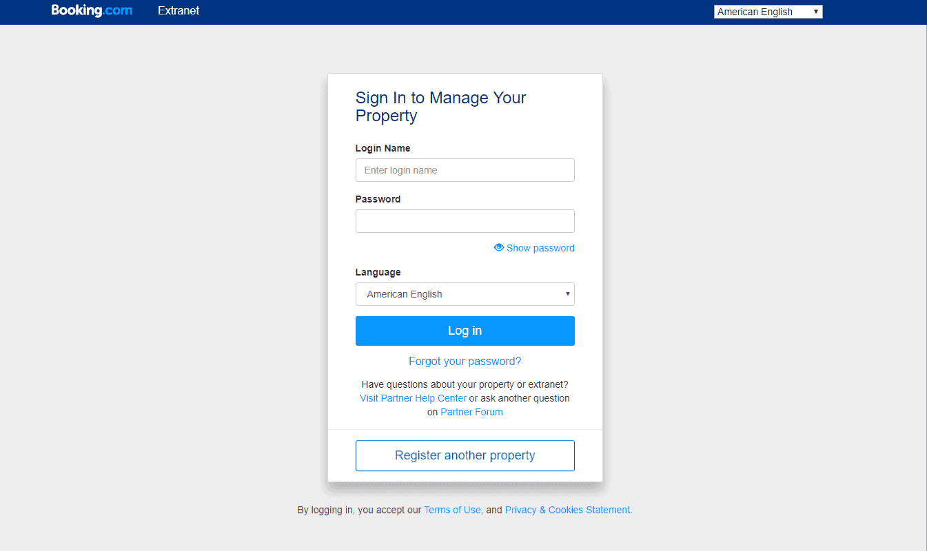 Booking.com Extranet Landing Page
