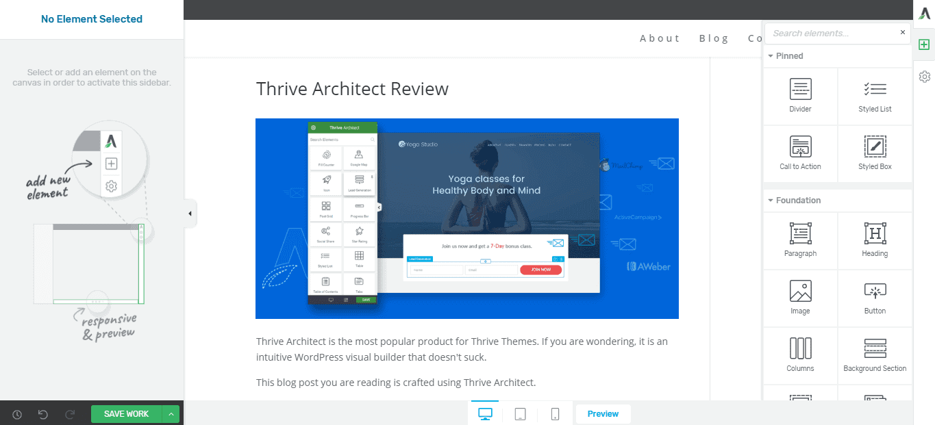 Thrive Architect Drag And Drop Builder Review
