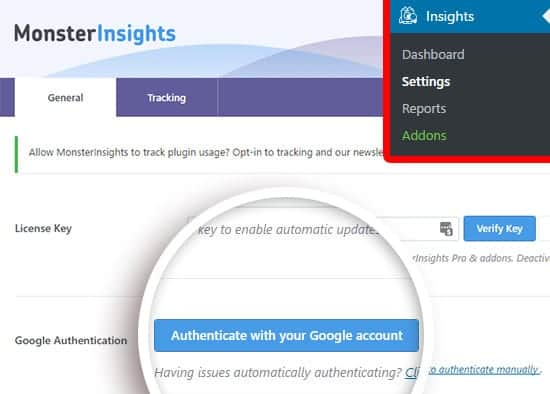 Authenticate MonsterInsights With Google Analytics