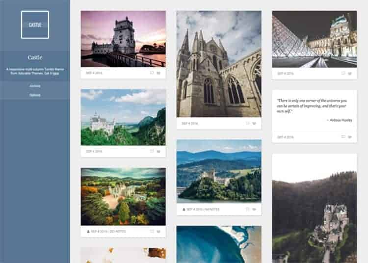 Castle Free Tumblr Theme for Artists