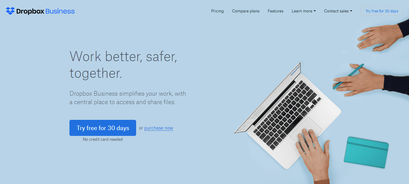 Dropbox For Business Landing Page