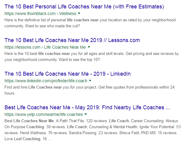 List Of Life Coaches Near Me