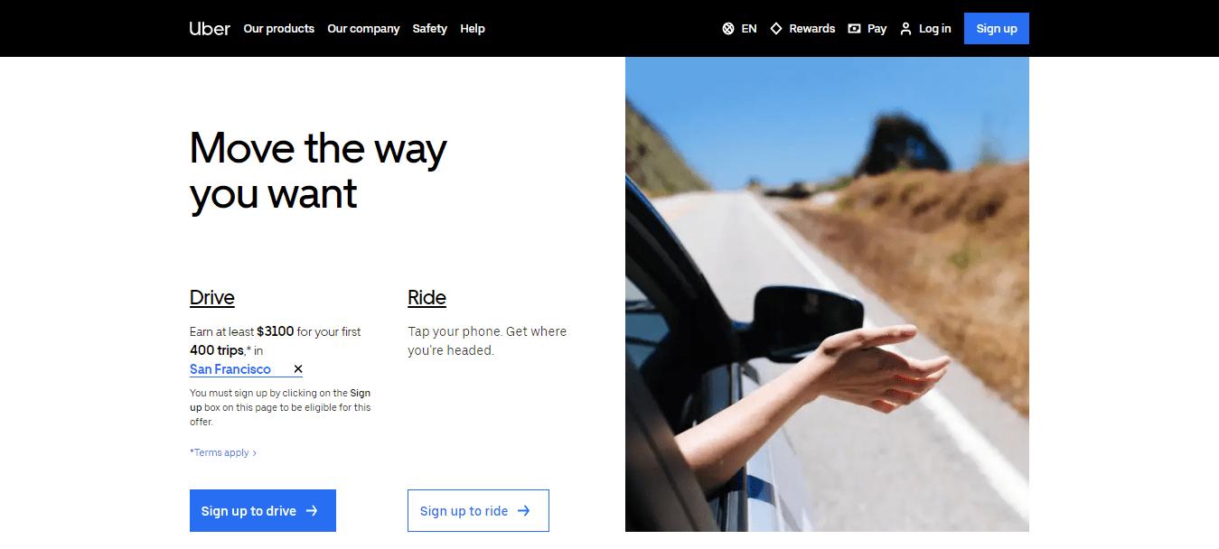 Uber Landing Page Design