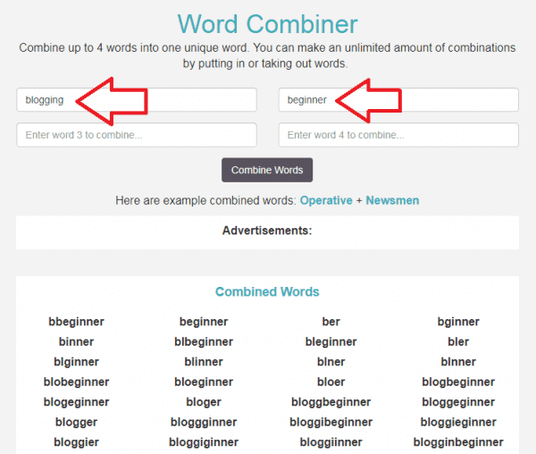Combine Words To Generate Blog Names