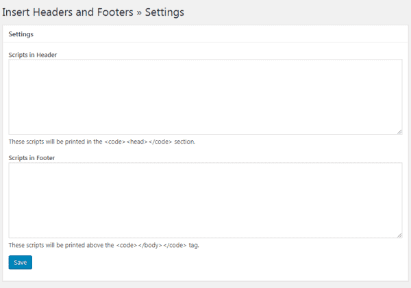 Insert Headers and Footers Plugin Google Analytics