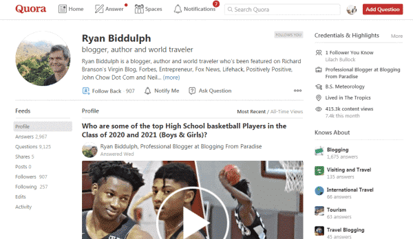 Ryan Biddulph uses Quora to generate blog traffic