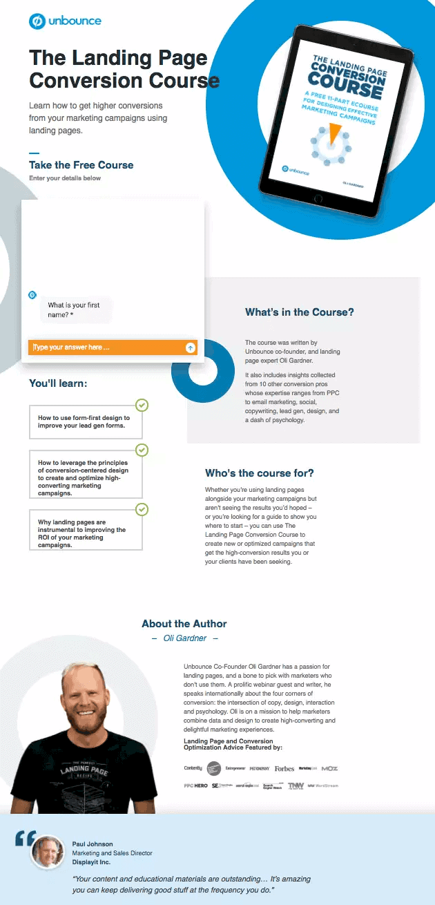 Unbounce Long Form Sales Page Template