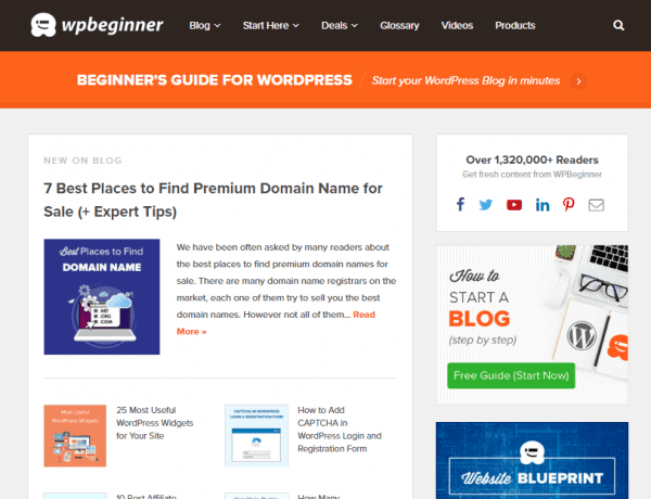 WPBeginner Homepage How To Choose A Blog Name