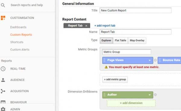 Create Custom Report To Track Authors