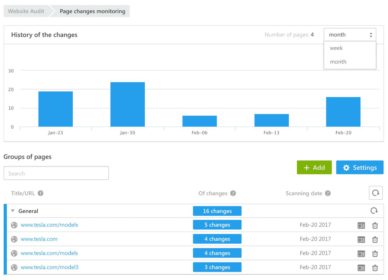 Page Change Monitoring SE Ranking