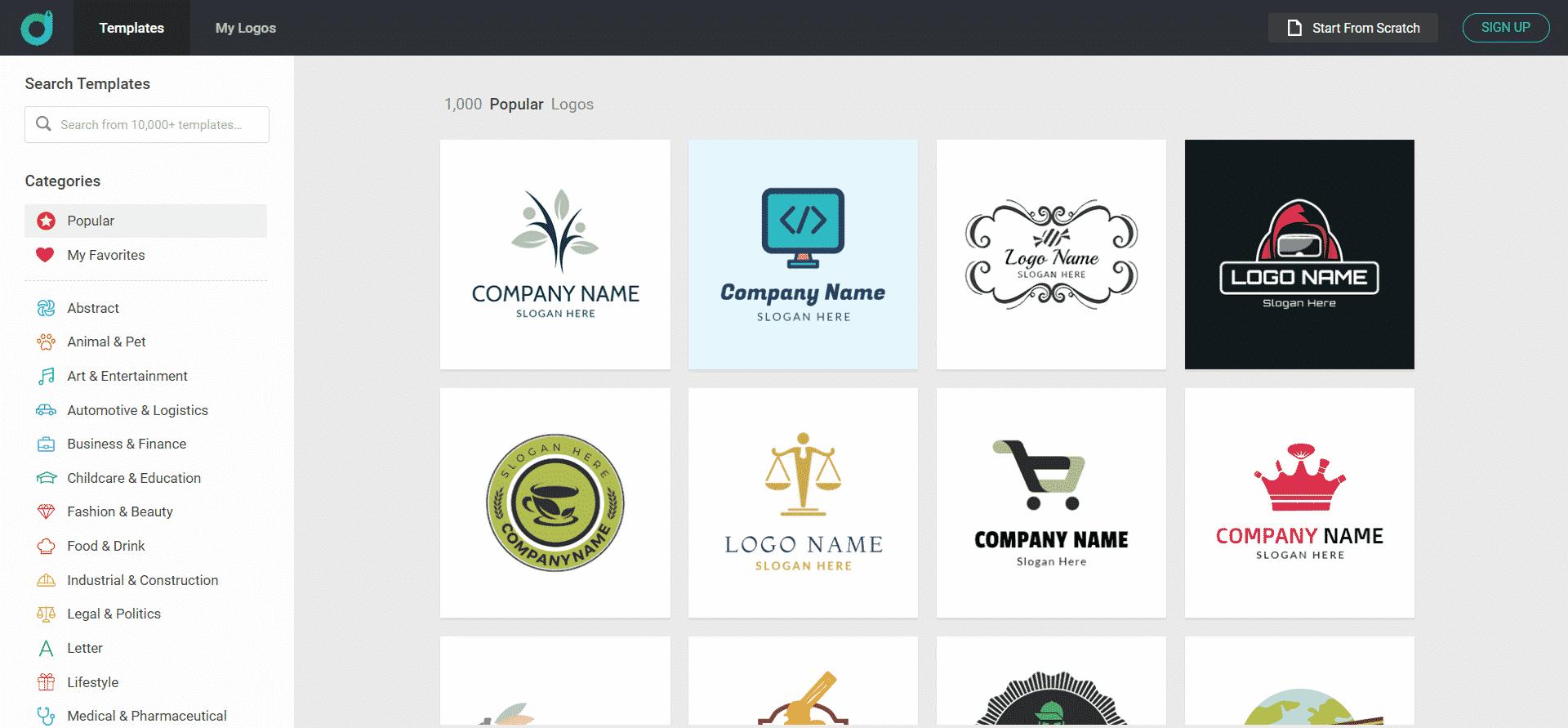 Choose A Template With DesignEvo