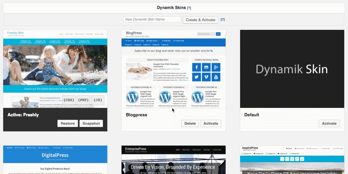 Dynamik Website Builder Skins