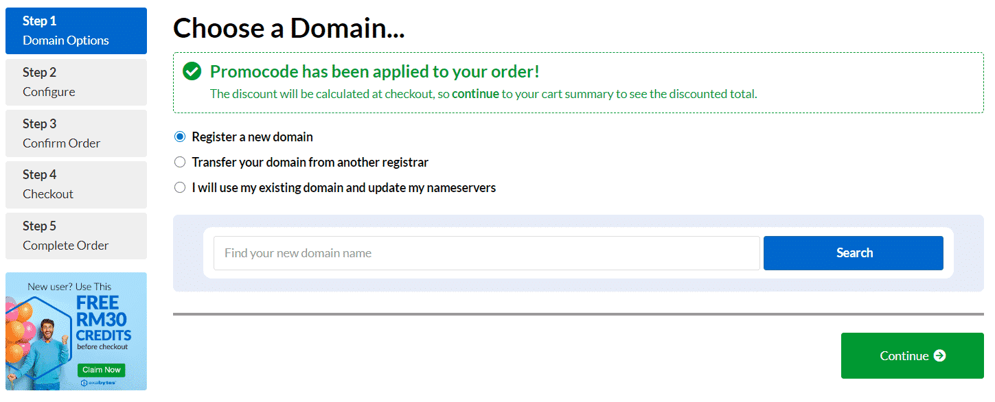 Selecting email hosting domain